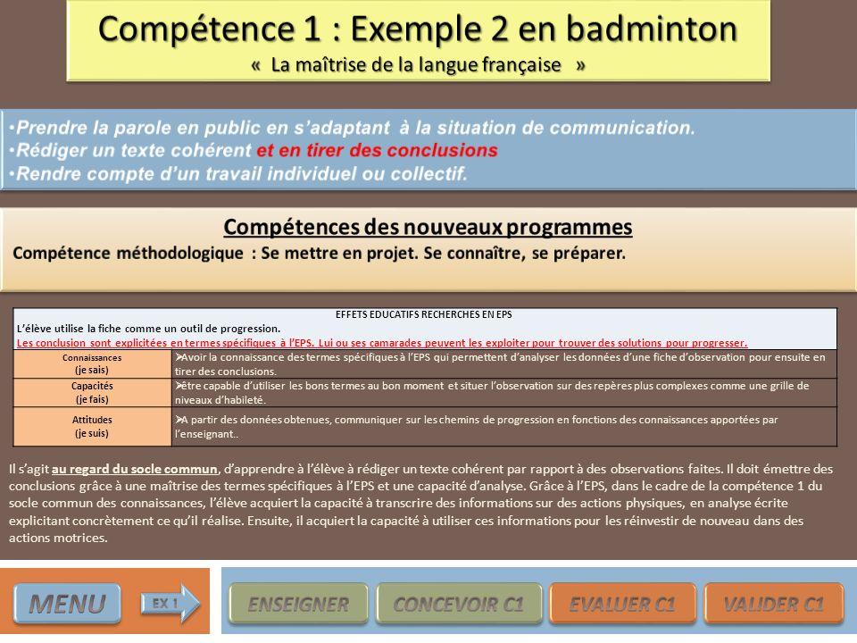 Compétences des nouveaux programmes EFFETS EDUCATIFS RECHERCHES EN EPS