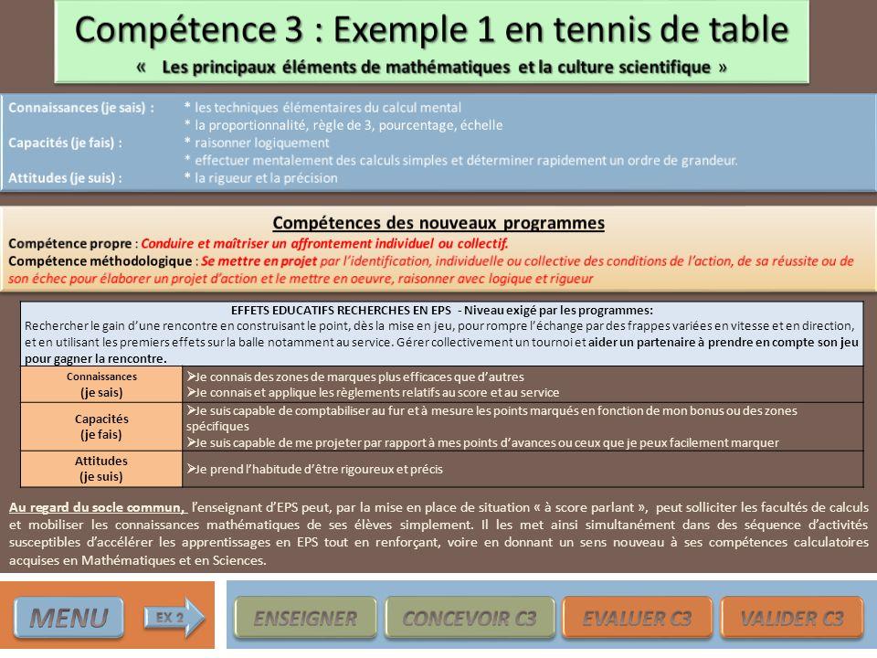 Compétence 3 : Exemple 1 en tennis de table