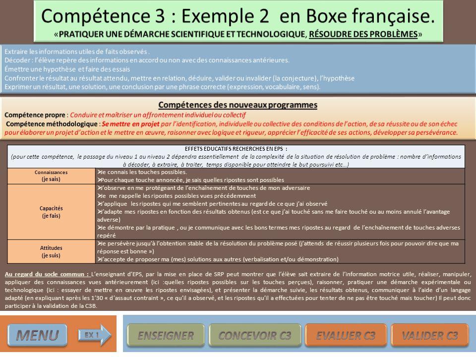 Compétence 3 : Exemple 2 en Boxe française.