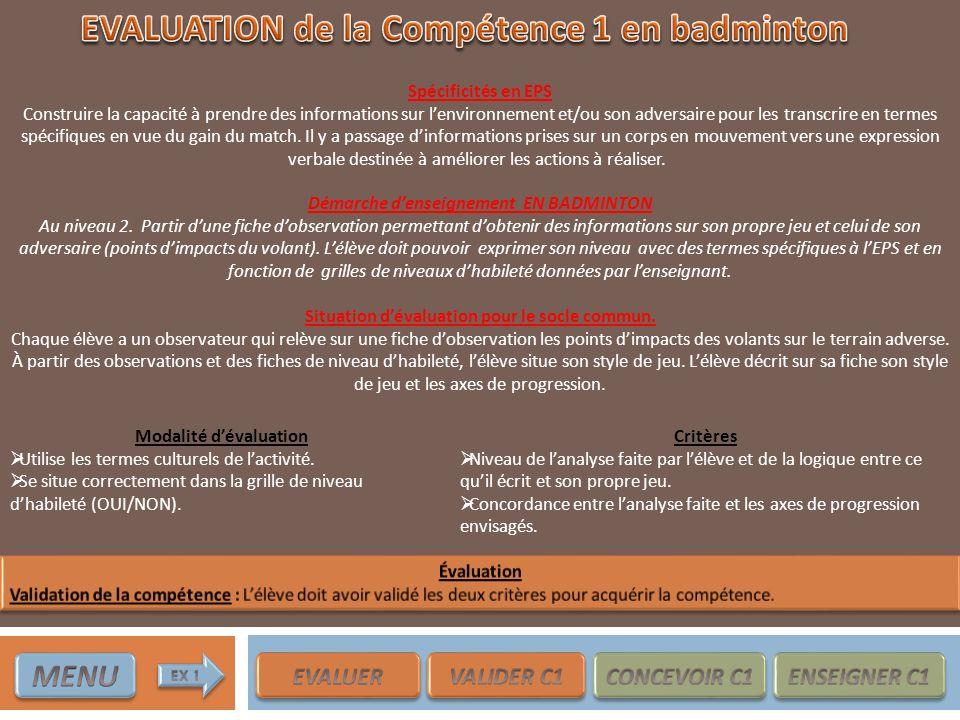 EVALUATION de la Compétence 1 en badminton