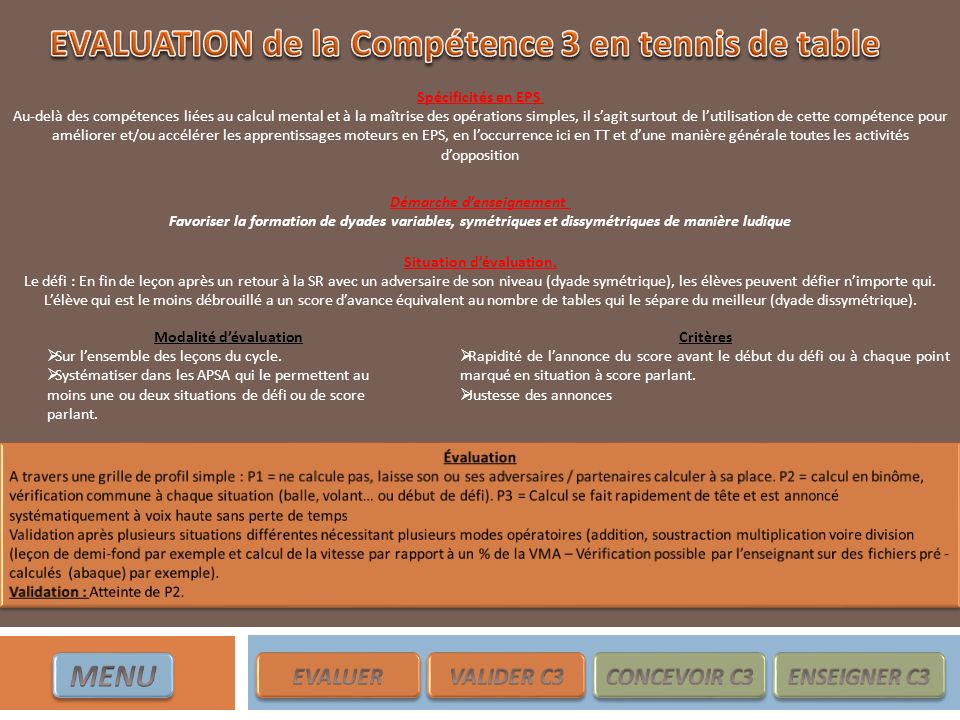 EVALUATION de la Compétence 3 en tennis de table