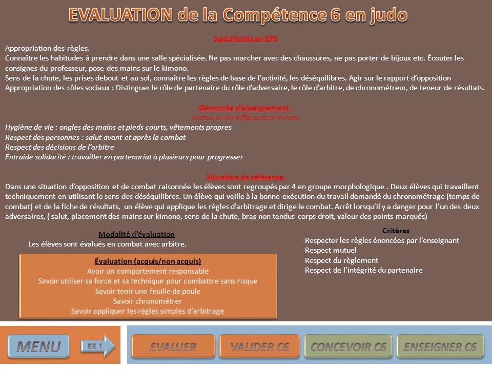EVALUATION de la Compétence 6 en judo