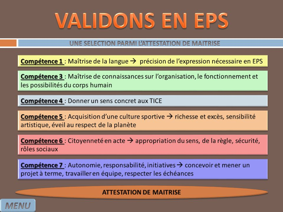 UNE SELECTION PARMI L'ATTESTATION DE MAITRISE ATTESTATION DE MAITRISE