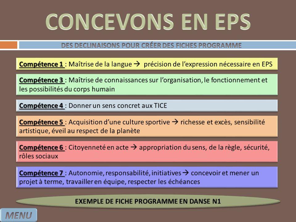 CONCEVONS EN EPS MENU DES DECLINAISONS POUR CRÉER DES FICHES PROGRAMME