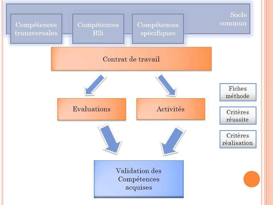 Compétences transversales Compétences B2i Compétences spécifiques