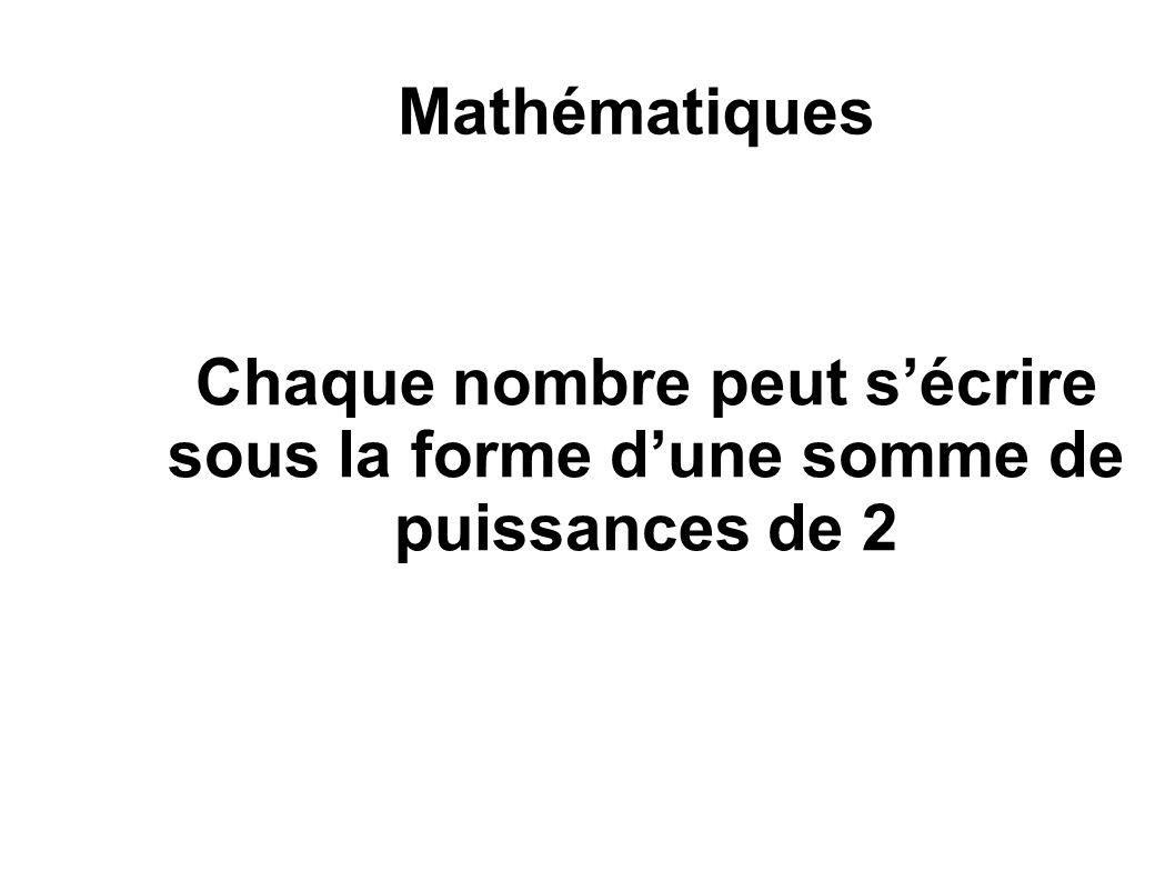 Mathématiques Chaque nombre peut s'écrire sous la forme d'une somme de puissances de 2