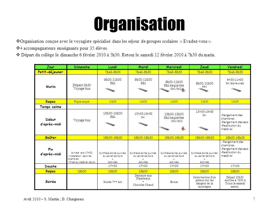Organisation Organisation conçue avec le voyagiste spécialisé dans les séjour de groupes scolaires « Evadez-vous ».