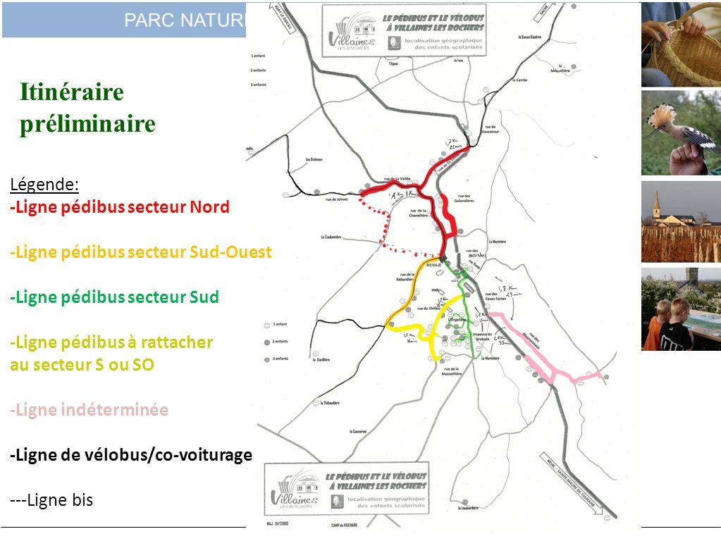 Itinéraire préliminaire Légende: -Ligne pédibus secteur Nord
