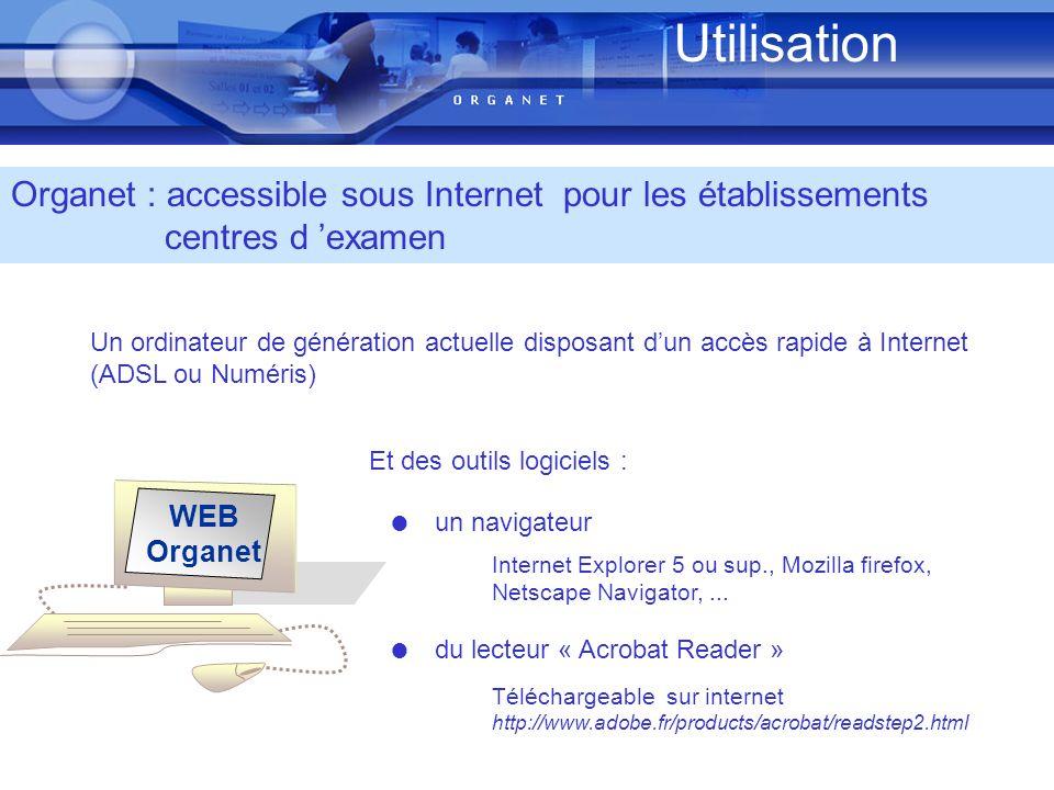 Utilisation Organet : accessible sous Internet pour les établissements centres d 'examen.