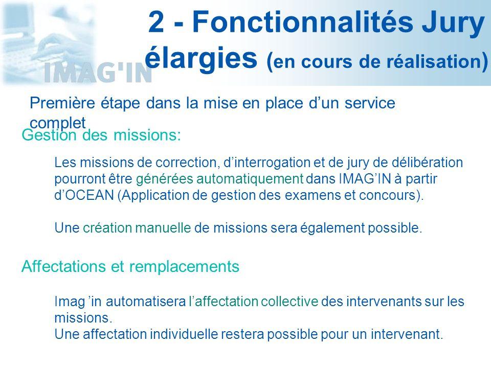 2 - Fonctionnalités Jury élargies (en cours de réalisation)