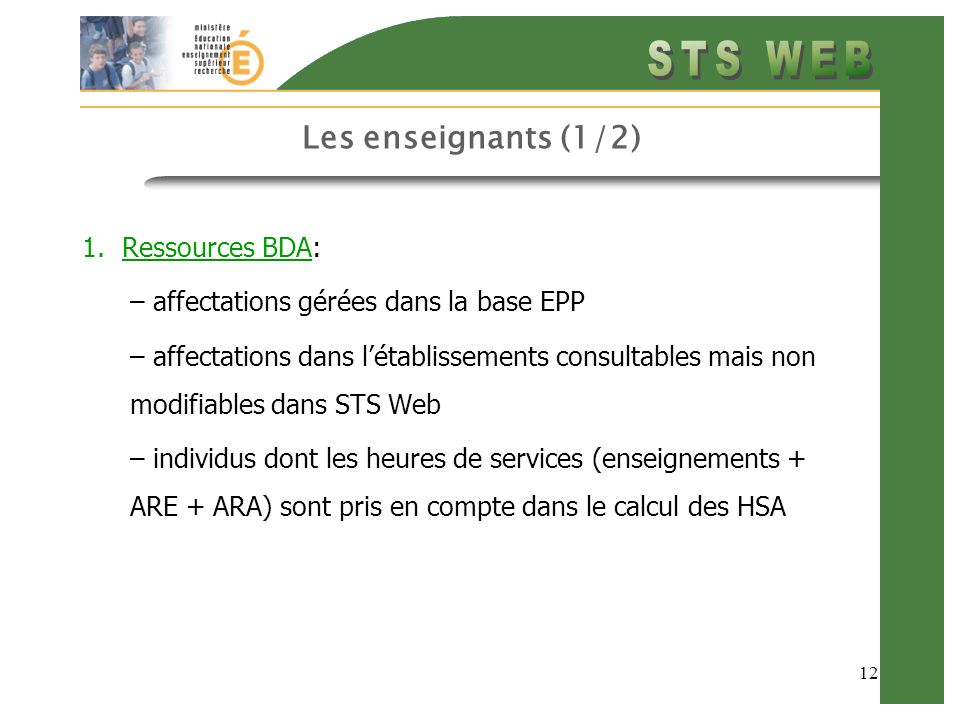 Les enseignants (1/2) Ressources BDA: