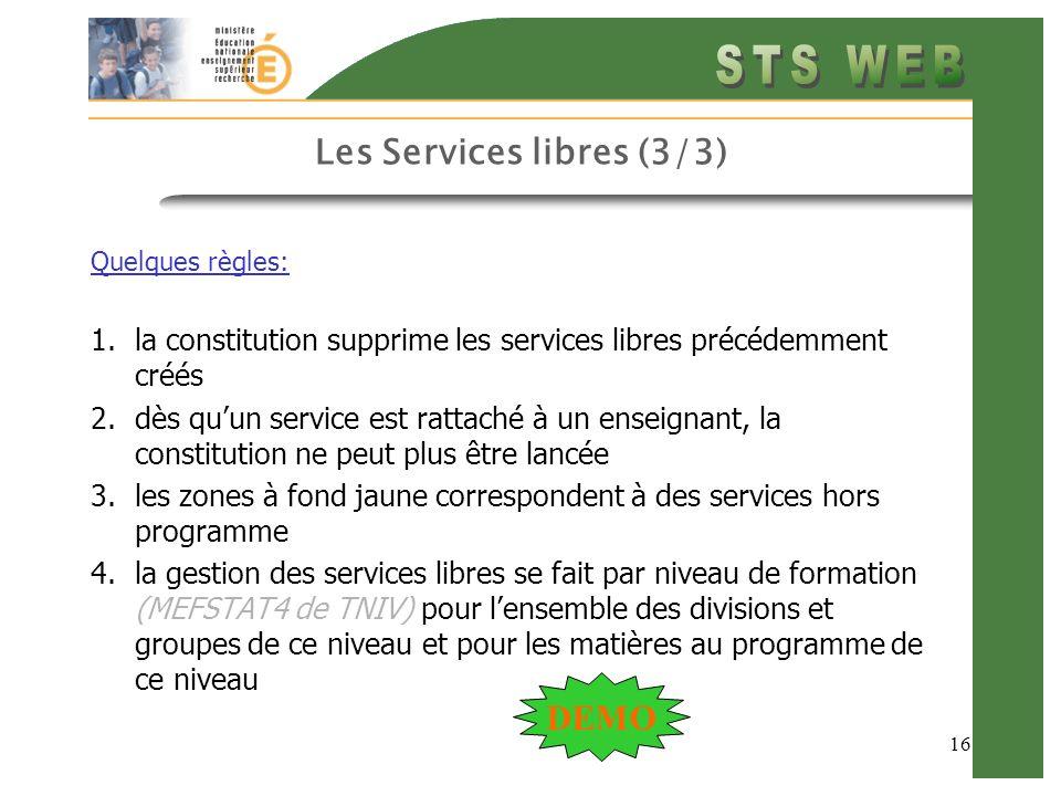 Les Services libres (3/3)