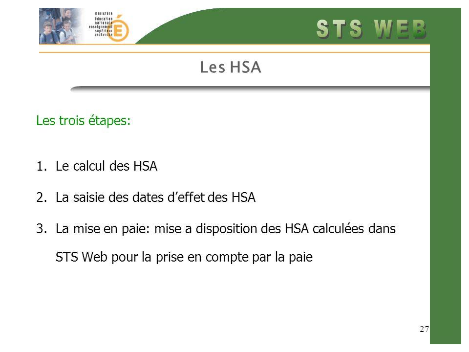 Les HSA Les trois étapes: Le calcul des HSA