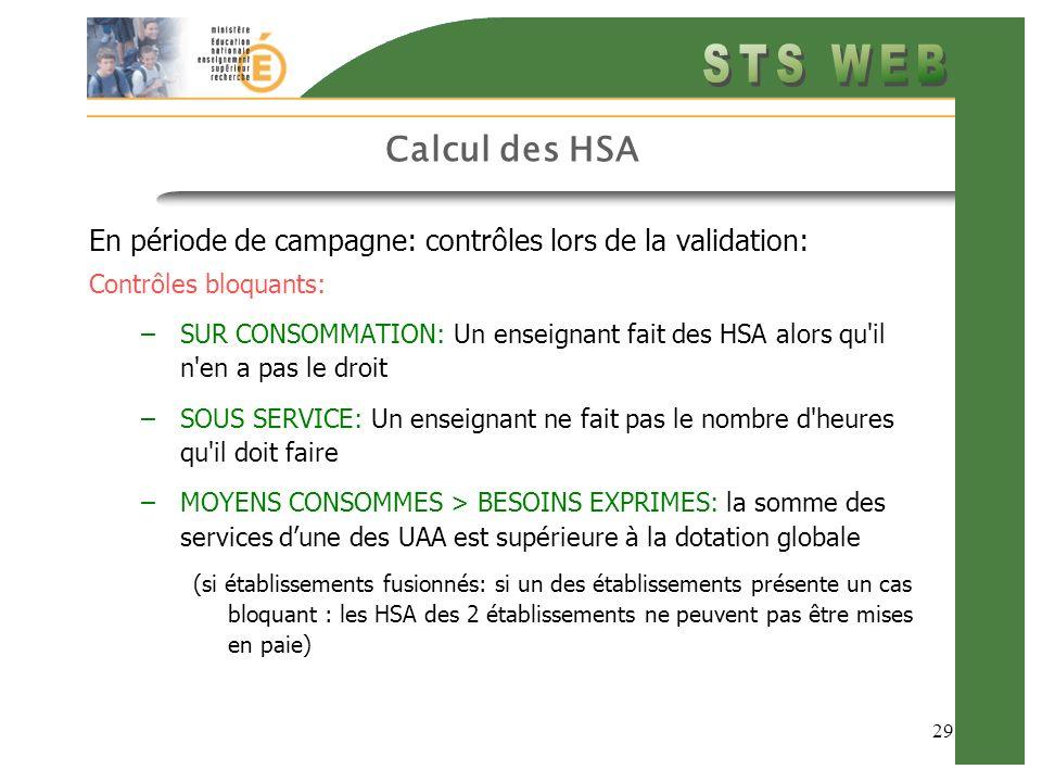 Calcul des HSA En période de campagne: contrôles lors de la validation: Contrôles bloquants: