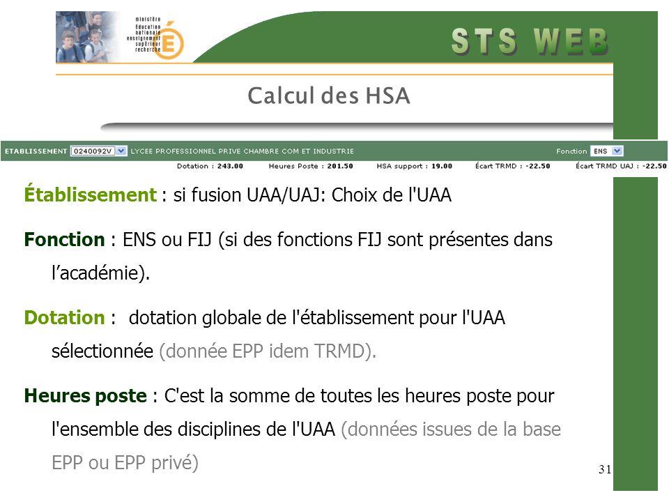Calcul des HSA Établissement : si fusion UAA/UAJ: Choix de l UAA