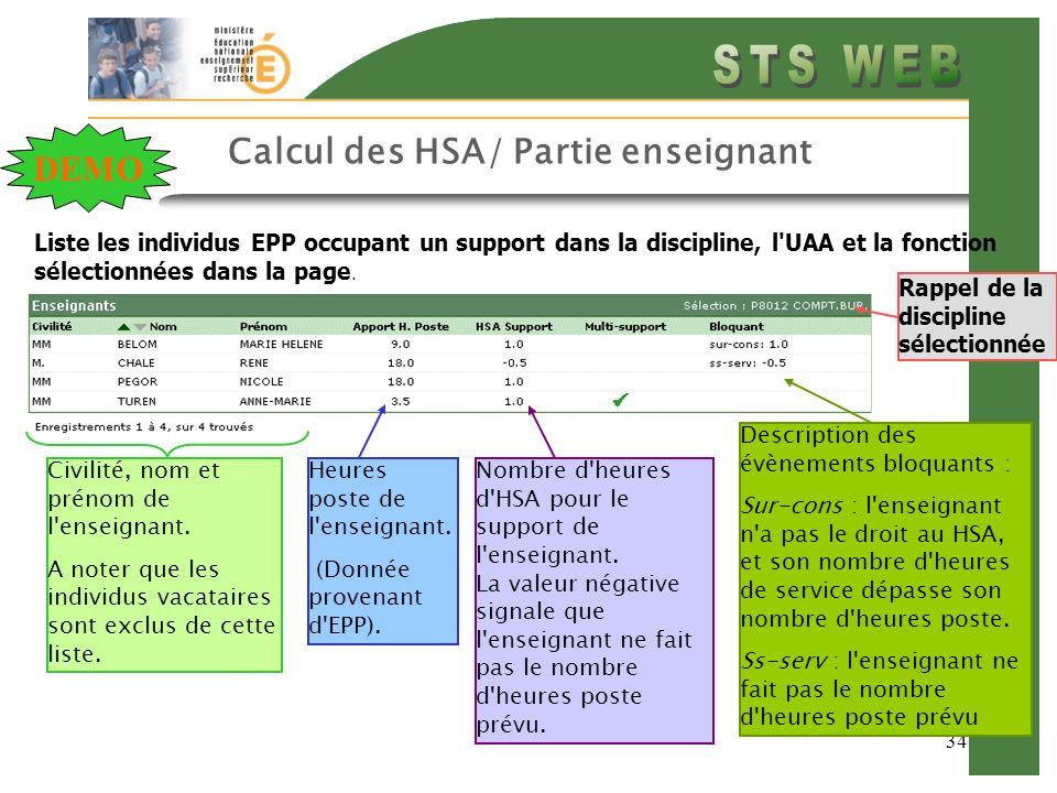 Calcul des HSA/ Partie enseignant