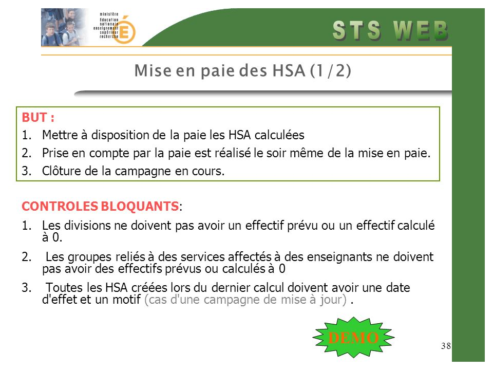 Mise en paie des HSA (1/2) DEMO BUT :