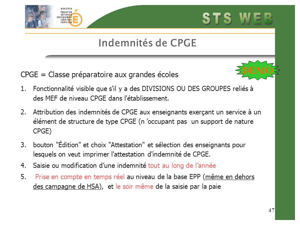 Indemnités de CPGE DEMO CPGE = Classe préparatoire aux grandes écoles