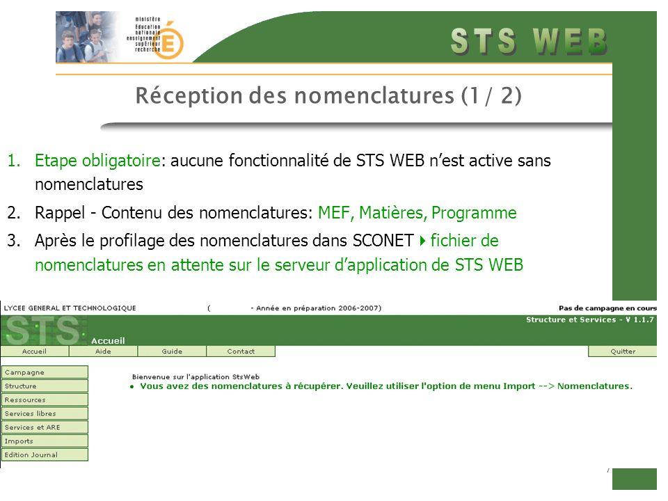 Réception des nomenclatures (1/ 2)