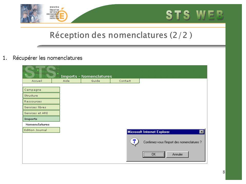 Réception des nomenclatures (2/2 )