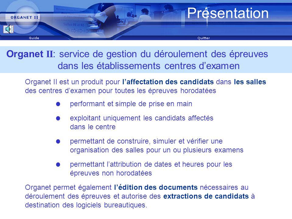 Présentation Mars 2007. Organet II: service de gestion du déroulement des épreuves dans les établissements centres d'examen.