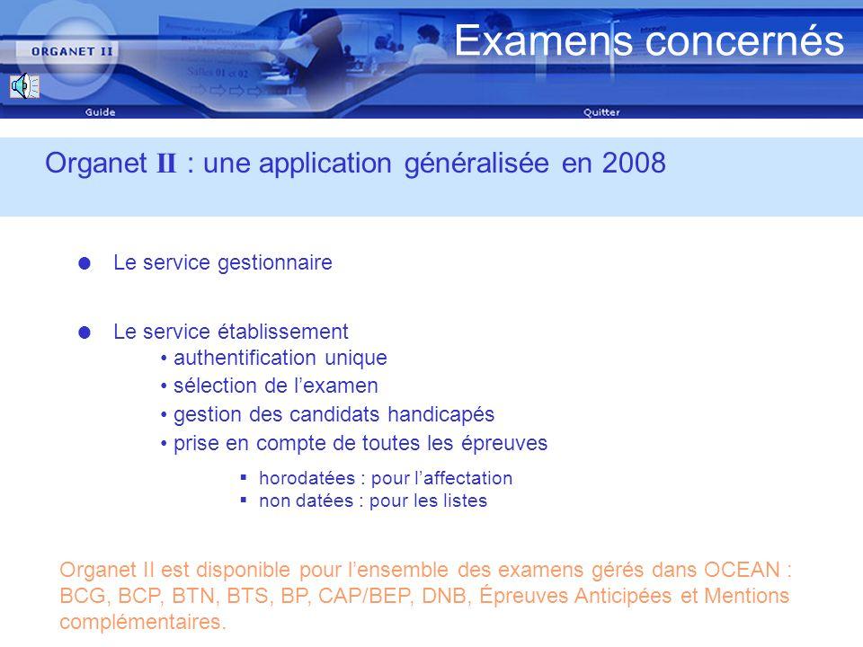 Examens concernés Organet II : une application généralisée en 2008