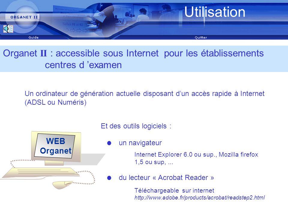 Mars 2007 Utilisation. Organet II : accessible sous Internet pour les établissements centres d 'examen.