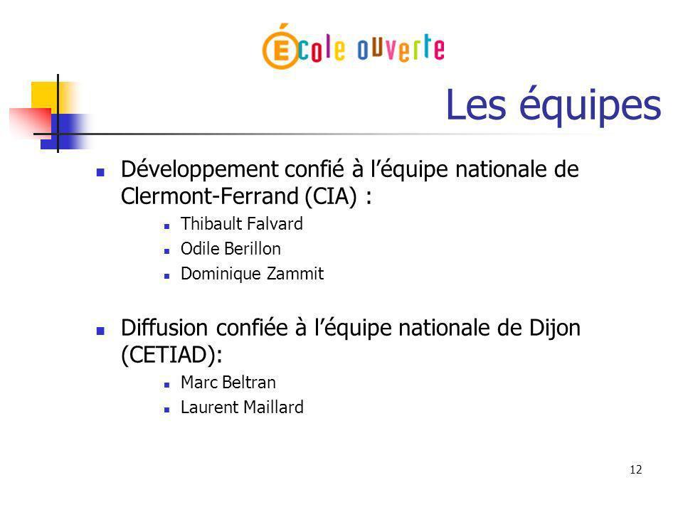 Les équipesDéveloppement confié à l'équipe nationale de Clermont-Ferrand (CIA) : Thibault Falvard. Odile Berillon.