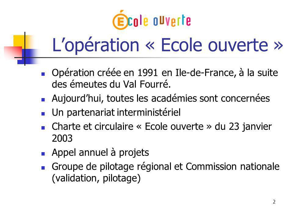 L'opération « Ecole ouverte »