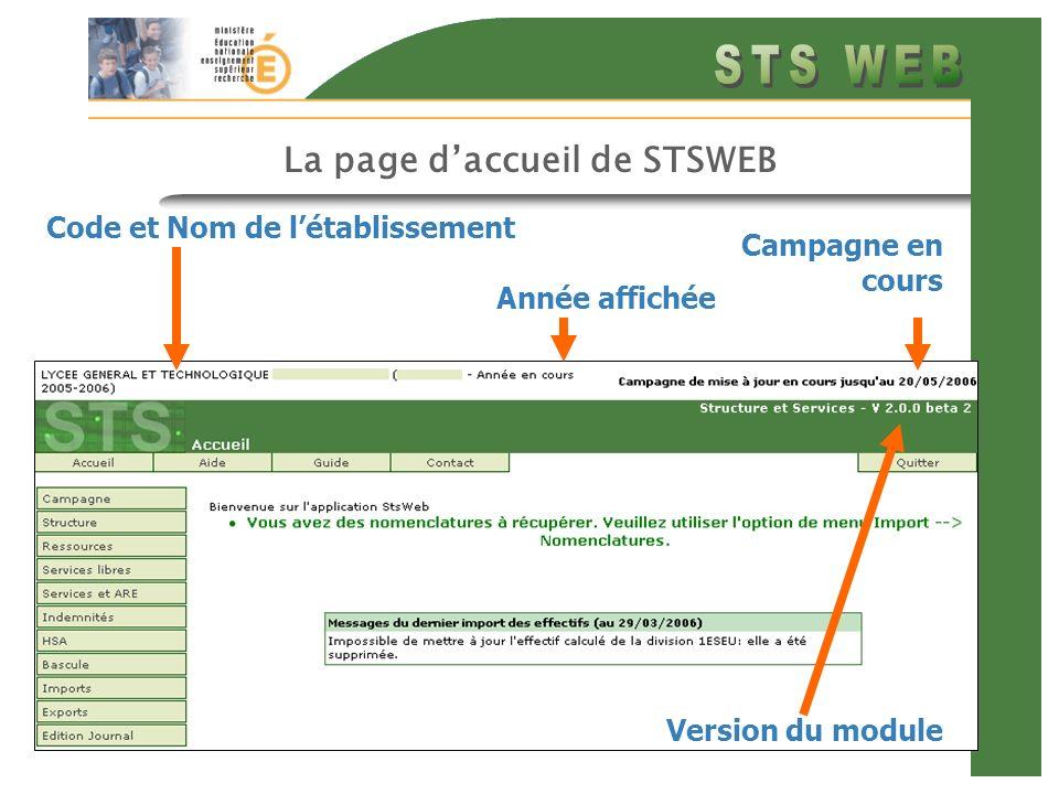 La page d'accueil de STSWEB