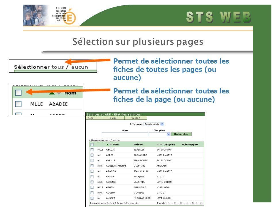 Sélection sur plusieurs pages