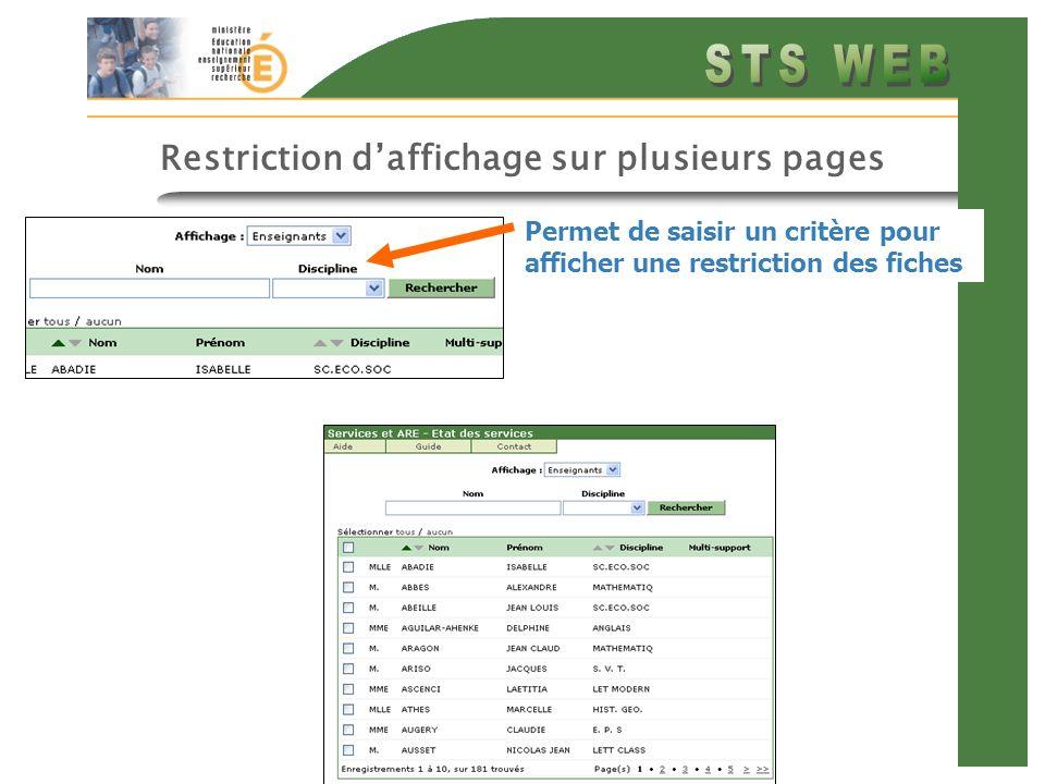 Restriction d'affichage sur plusieurs pages