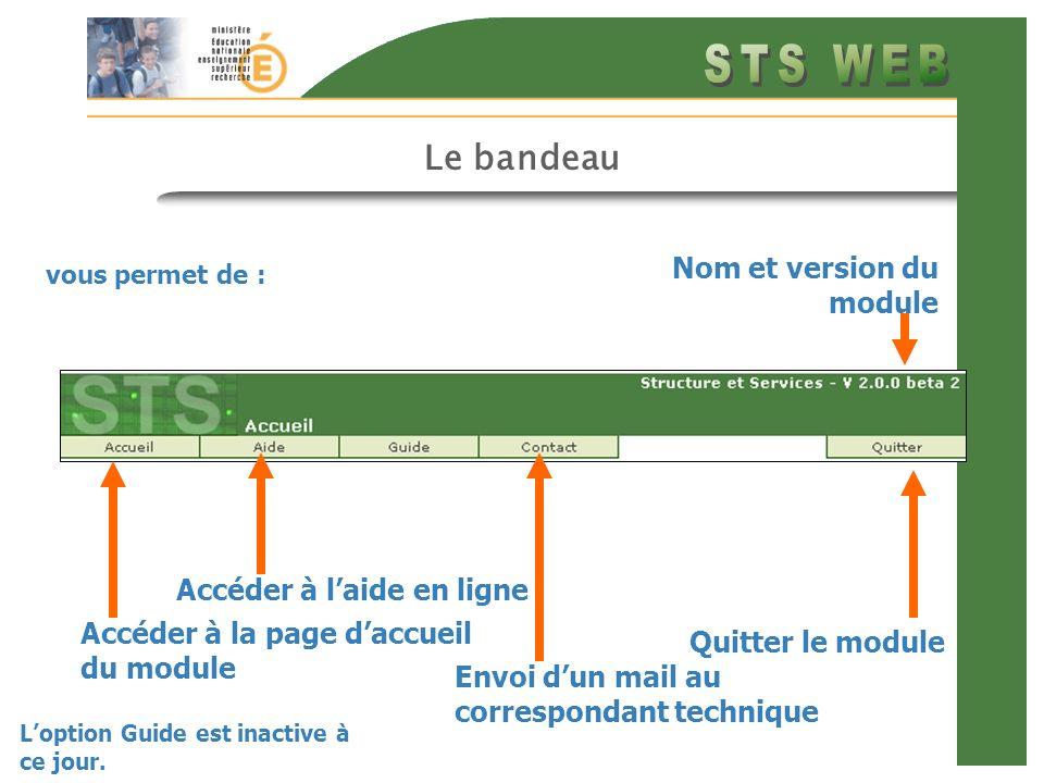 Le bandeau Nom et version du module Accéder à l'aide en ligne