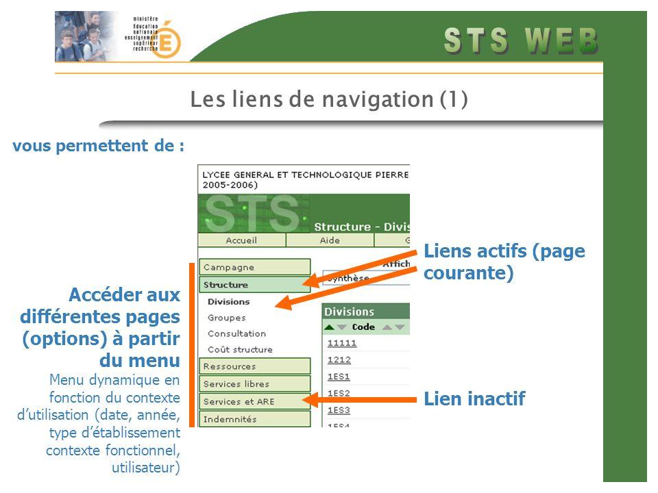 Les liens de navigation (1)