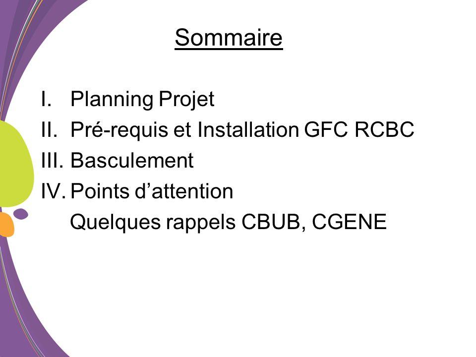 Sommaire Planning Projet Pré-requis et Installation GFC RCBC