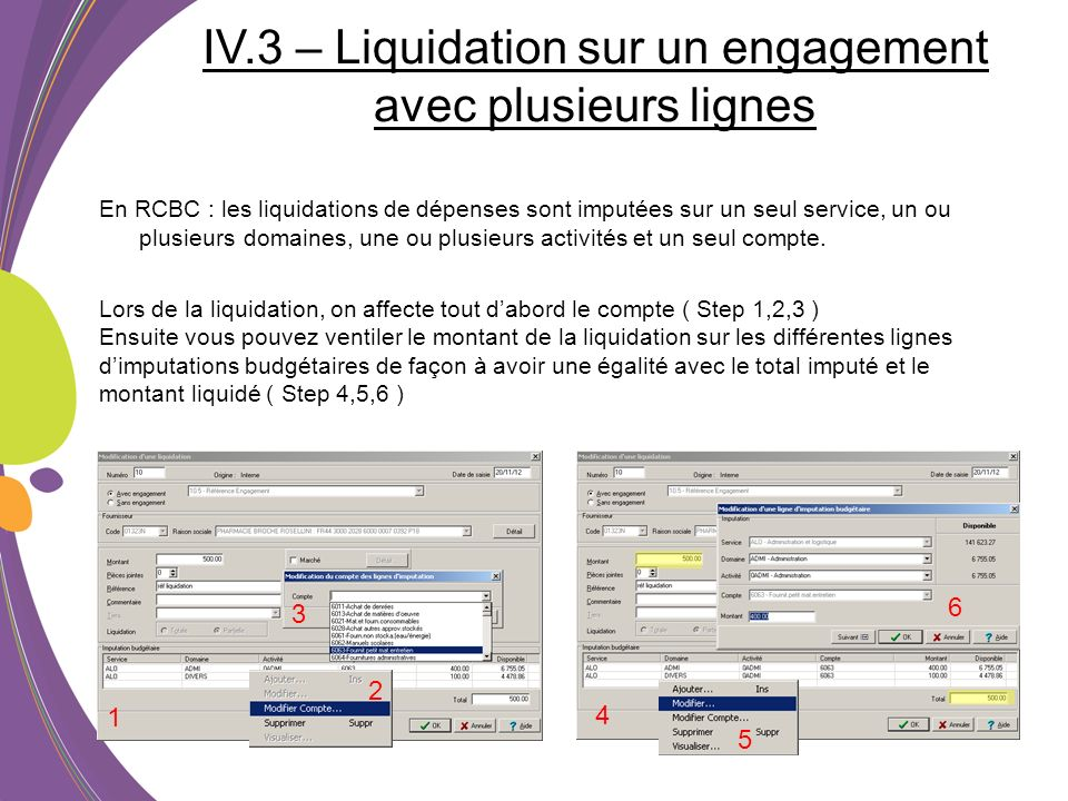 IV.3 – Liquidation sur un engagement avec plusieurs lignes