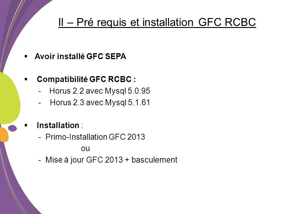 II – Pré requis et installation GFC RCBC