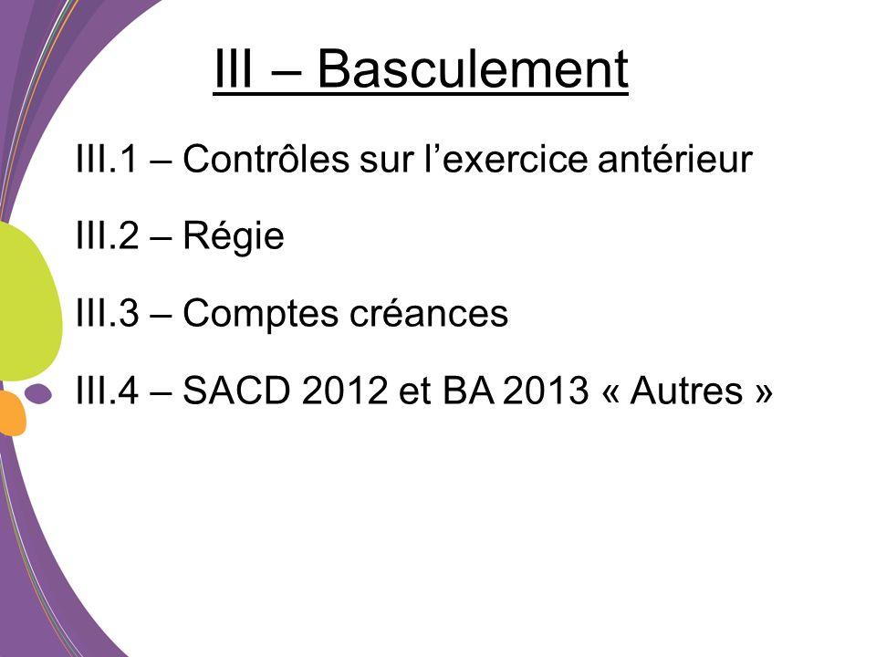 III – Basculement III.1 – Contrôles sur l'exercice antérieur