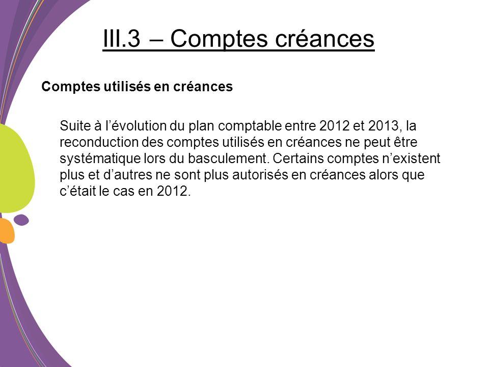 III.3 – Comptes créances Comptes utilisés en créances