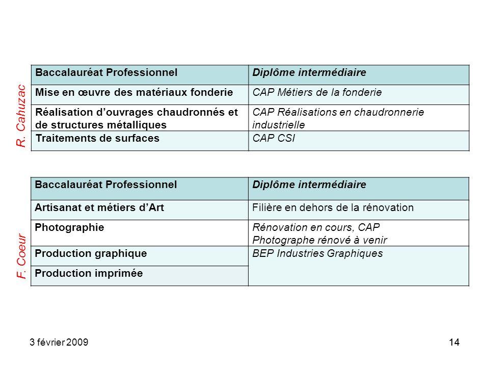 R. Cahuzac F. Coeur Baccalauréat Professionnel Diplôme intermédiaire