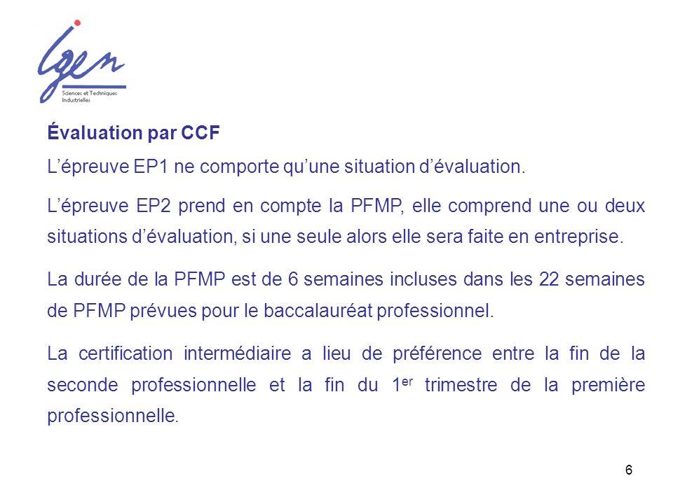 L'épreuve EP1 ne comporte qu'une situation d'évaluation.