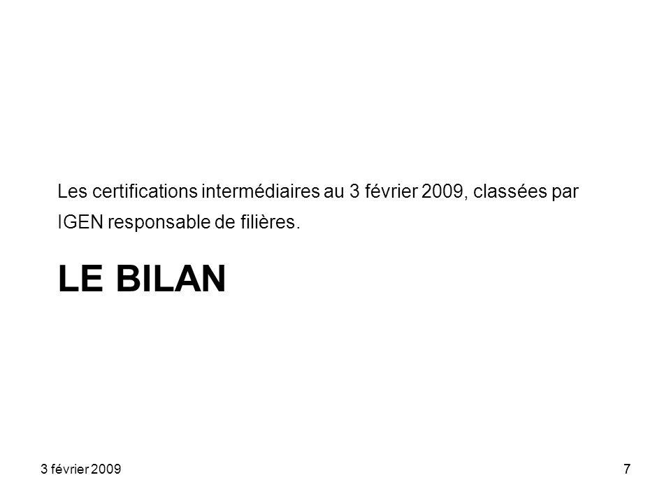 Les certifications intermédiaires au 3 février 2009, classées par IGEN responsable de filières.