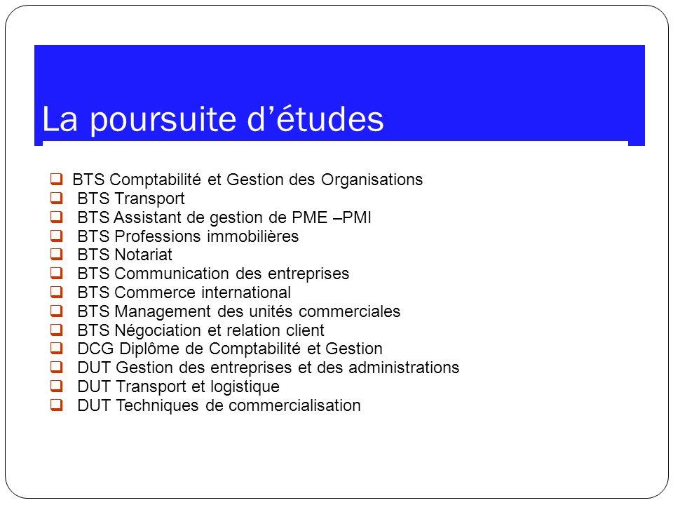 La poursuite d'études BTS Comptabilité et Gestion des Organisations