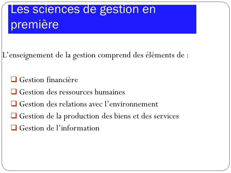 Les sciences de gestion en première