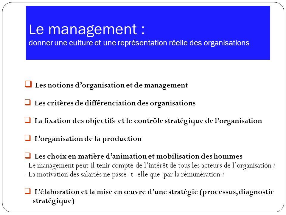 Le management : donner une culture et une représentation réelle des organisations