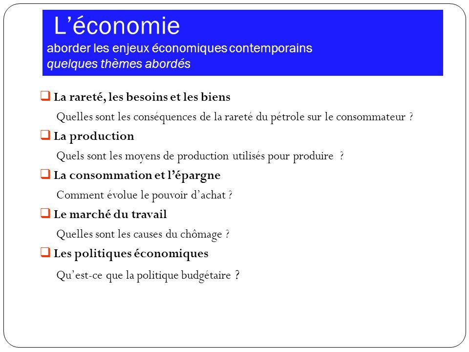L'économie aborder les enjeux économiques contemporains quelques thèmes abordés