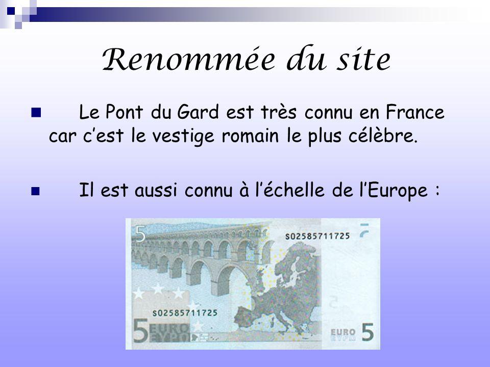 Renommée du site Le Pont du Gard est très connu en France car c'est le vestige romain le plus célèbre.