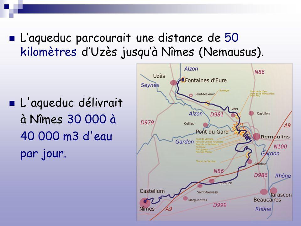 L'aqueduc parcourait une distance de 50 kilomètres d'Uzès jusqu'à Nîmes (Nemausus).