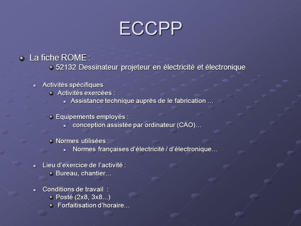 ECCPPLa fiche ROME : 52132 Dessinateur projeteur en électricité et électronique. Activités spécifiques.