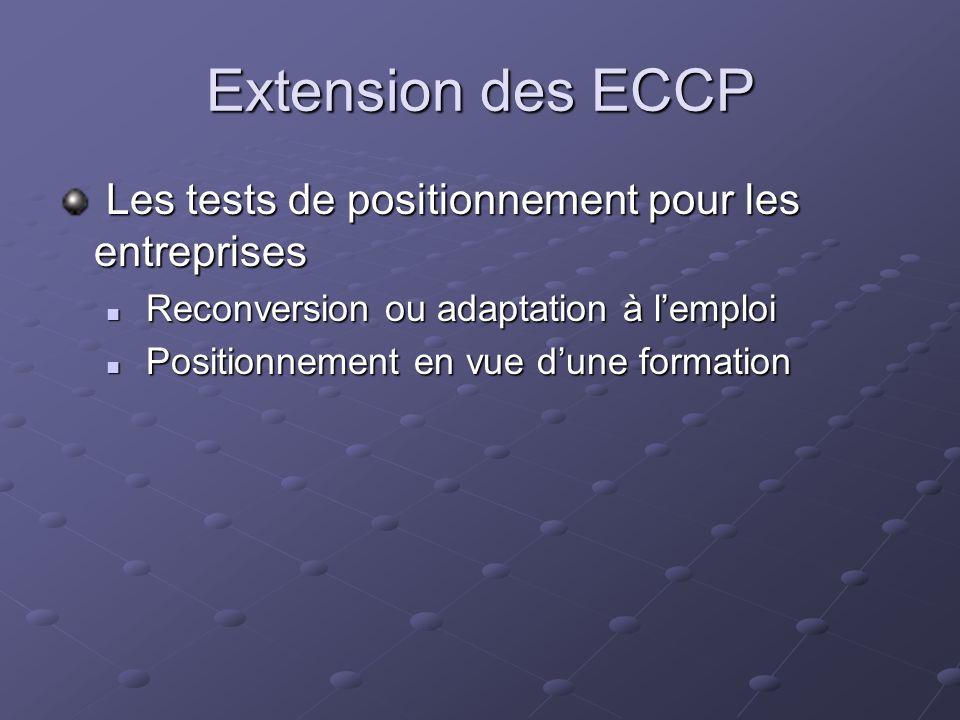 Extension des ECCP Les tests de positionnement pour les entreprises